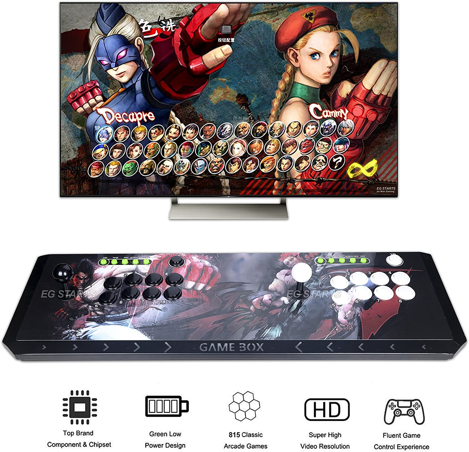 EG STARTS Arcade Video Game Console 815 in 1 Pandora's Box 4S+ Plus Slim Metal LED Box Consoles Support HDMI VGA and USB Output Support TV Set, Monitor, Projector, PC/Laptop In 815 Games