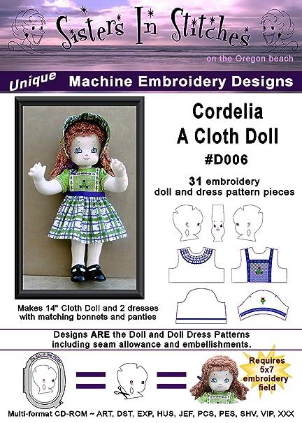 Amazon com: Cordelia, A Cloth Doll - In the Hoop - Machine