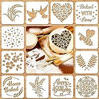 12 Pieces Artisan Bread Stencils Baking Stencil Set Cook Stencil Baking Template Bread, Cake, Pie, or Cookie Stencils…