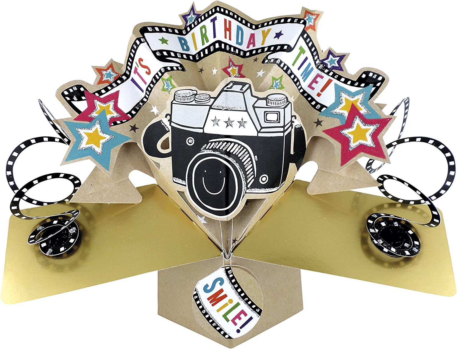 Second Nature Pop Up Birthday Card with Lettering and Camera – Photographer Birthday Card