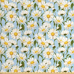 Lunarable Daisy Fabric by The Yard, Chamomile Flowers Garden Spring Foliage Harvest Yard Shabby Pattern, Decorative Fabric for Upholstery and Home Accents, 1 Yard, Olive Green