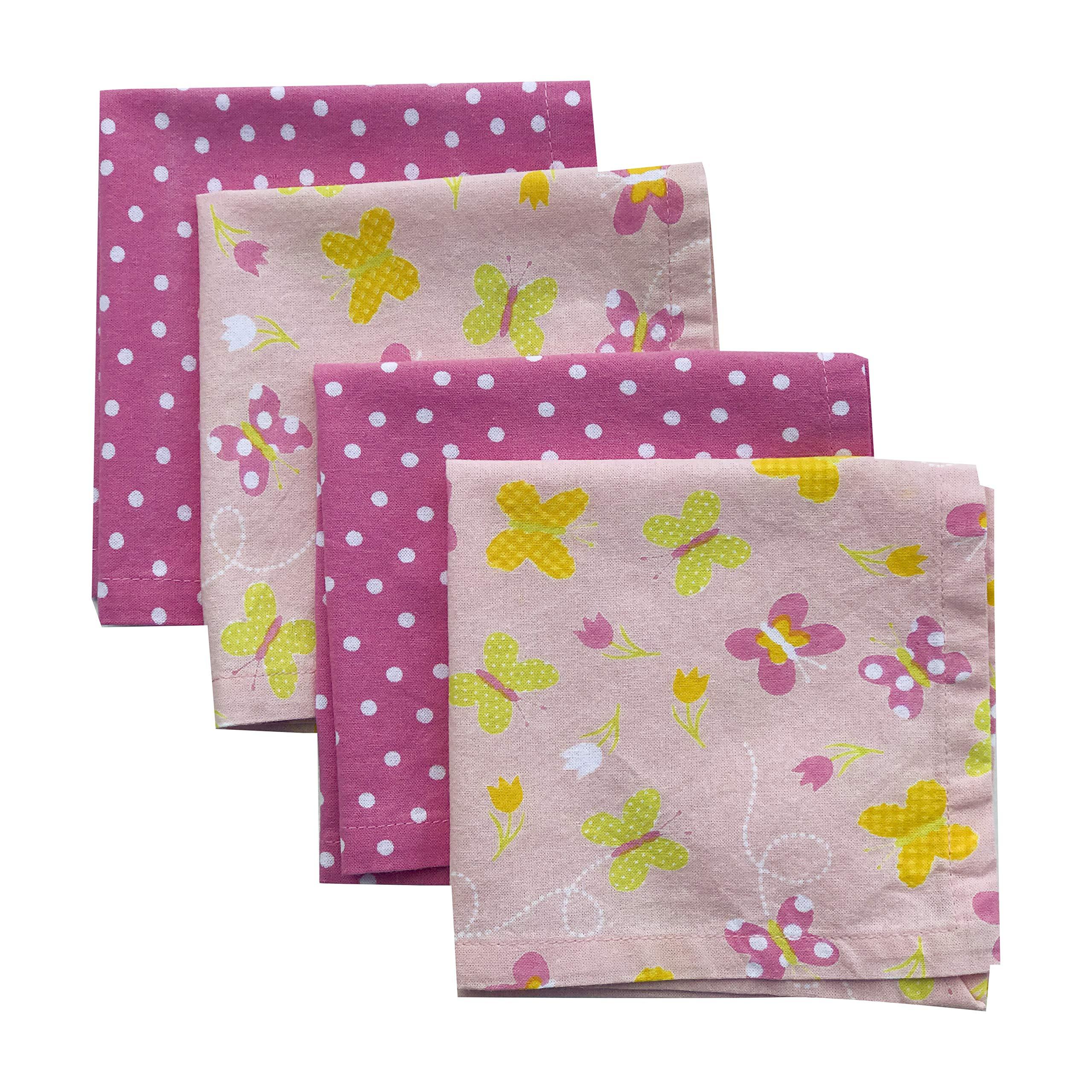 Funkins Reusable Cloth Napkins for Kids | Name Tag | 12''x12'' Soft Cotton Napkins, Set of 4 | Butterflies