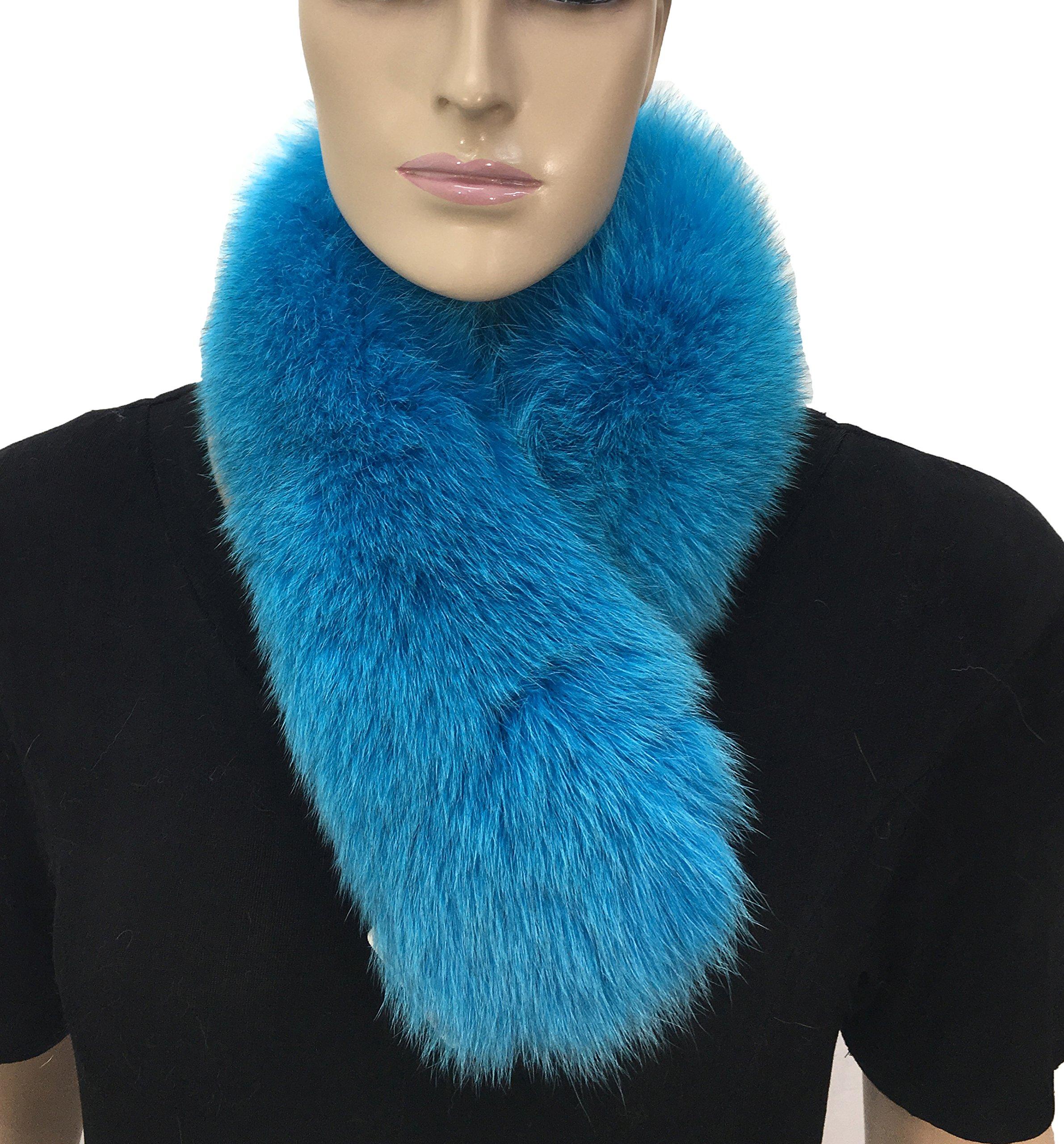 HIMA 100% Real Fox Fur Headband (Navy Blue)