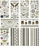 Metallic Temporary Tattoos, 10 Sheets, 160+ Designs