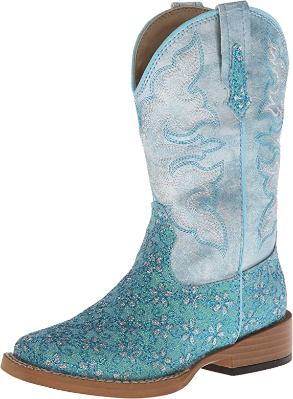 7cd720b3f9f Square Toe Glitter Floral Western Boot (Toddler/Little Kid)