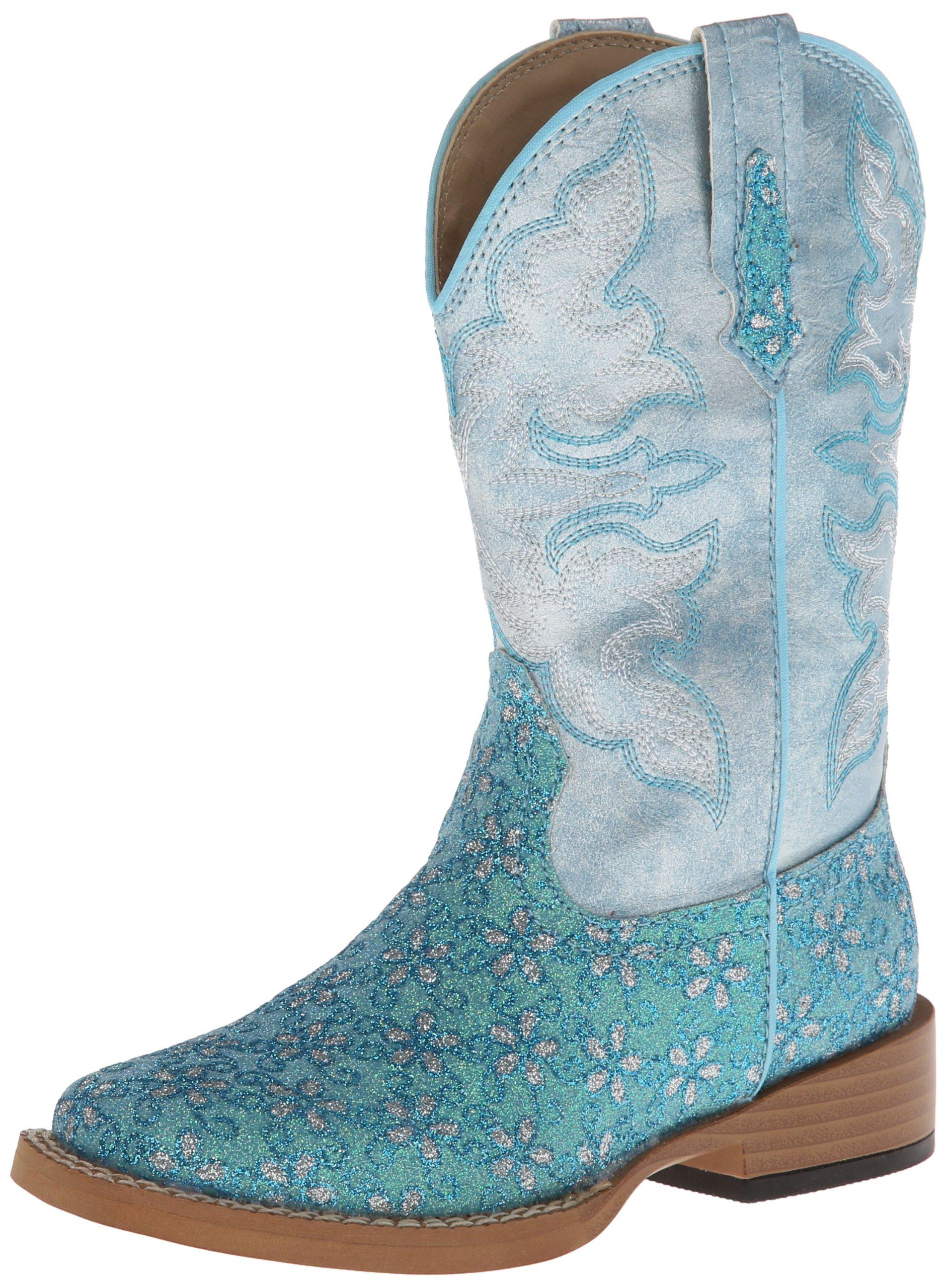 Roper Square Toe Glitter Floral Western Boot (Toddler/Little Kid),Turquoise,3 M US Little Kid
