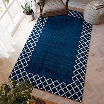 Area Rug Blue And Ivory Trellis Print Stain Resistant Carpet 5ft X 8ft
