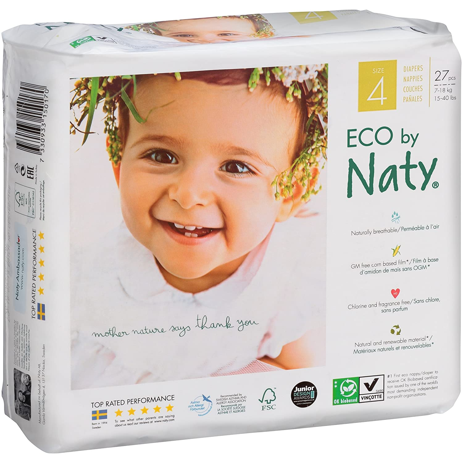 Amazon.com: Branded Naty, ECO By Naty Diapers, Size 4, 27 Diapers , Weight 37lbs - Branded Diapers with fast delivery (Soft and Comfortable for Babies): ...