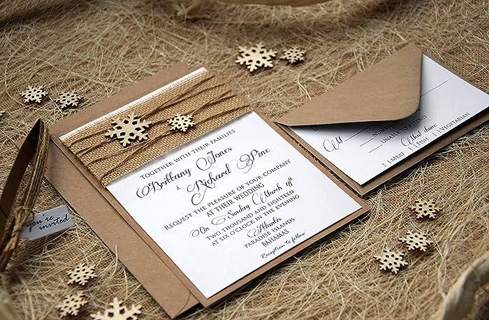 amazon com snowflake winter wedding invitation kraft and white