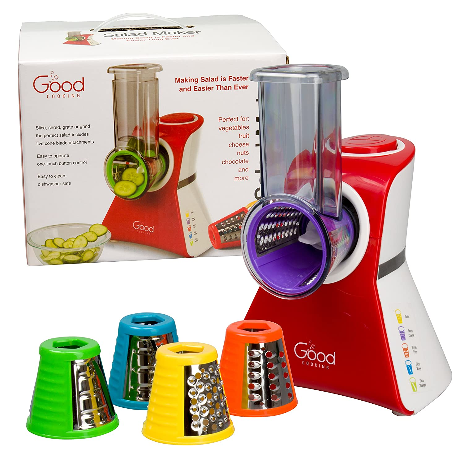 Salad Maker - Electric Shredder, Slicer, Chopper, Shooter with One-Touch Control and 5 FREE Attachments