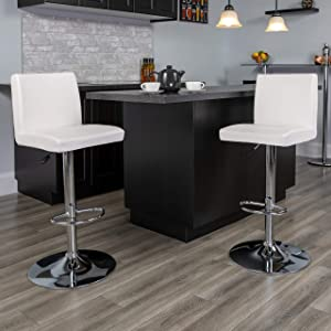 Flash Furniture 2 Pack Contemporary White Vinyl Adjustable Height Barstool with Panel Back and Chrome Base