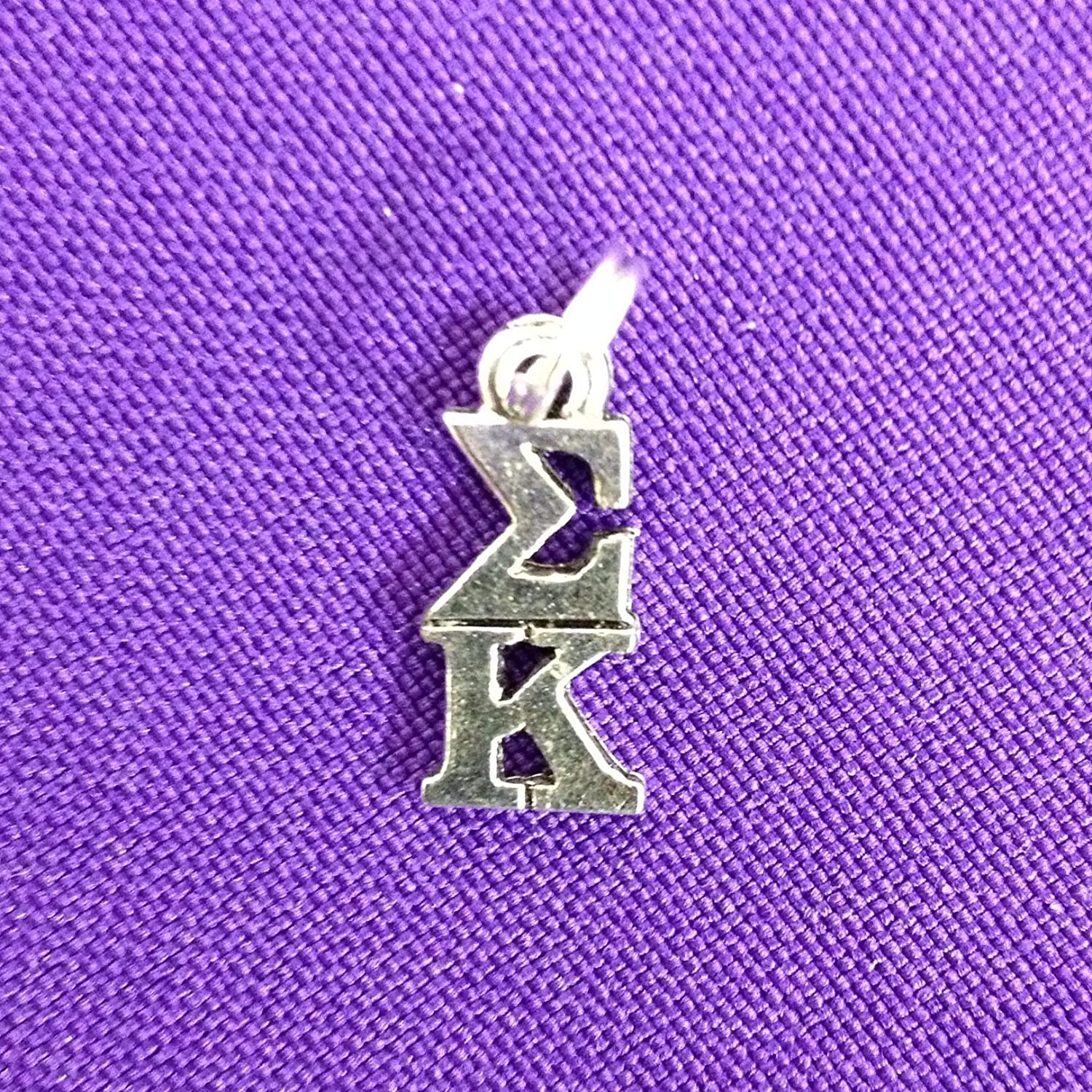 Sigma Kappa Lavaliere in Sterling Plate, Sorority Greek Charm, officially licensed