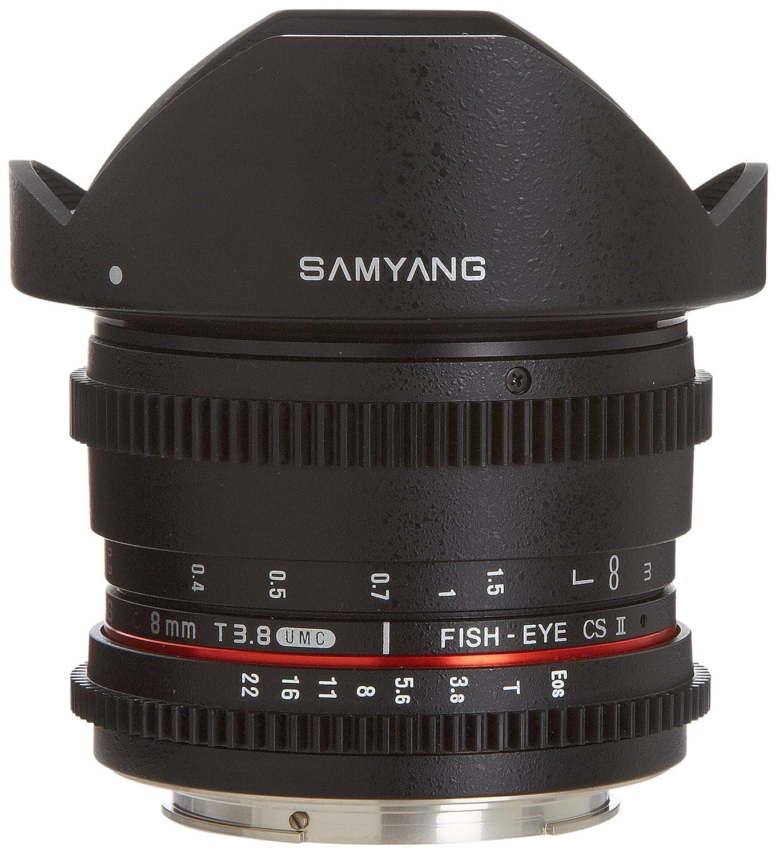 Samyang Cine syhd8mv-c HD 8 mm T / 3.8魚眼レンズレンズwith de-clicked絞りと取り外し可能なフードfor Canon   B00IAOS2S0