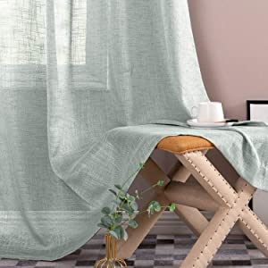 Linen Textured Sheer Curtains Rod Pocket Drapes for Bedroom Curtain 95 inches Length for Living Room Window 2 Panels Blue Haze