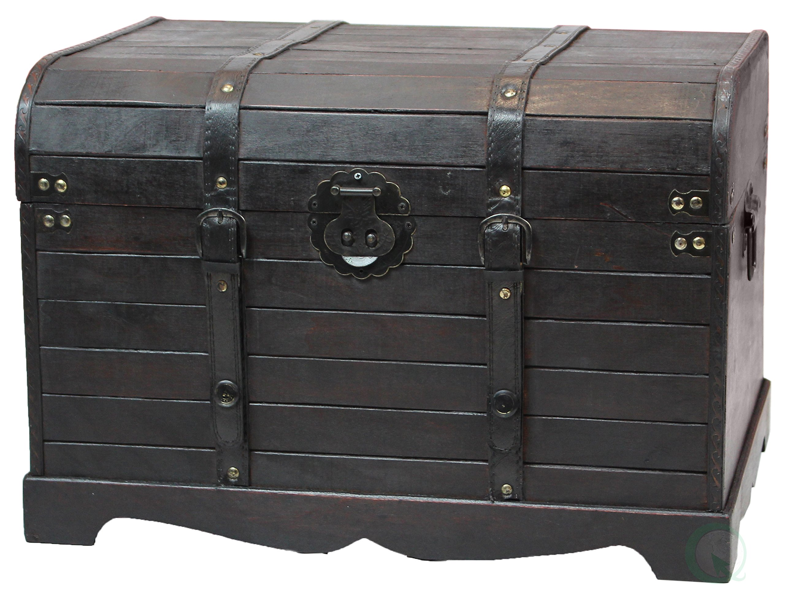 Antique Style Black Wooden Steamer Trunk, Coffee Table