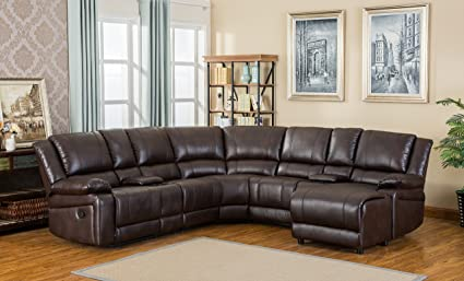 Roundhill Furniture Juno Brown PU Air Leather Sectional Reclining Sofa With  Console