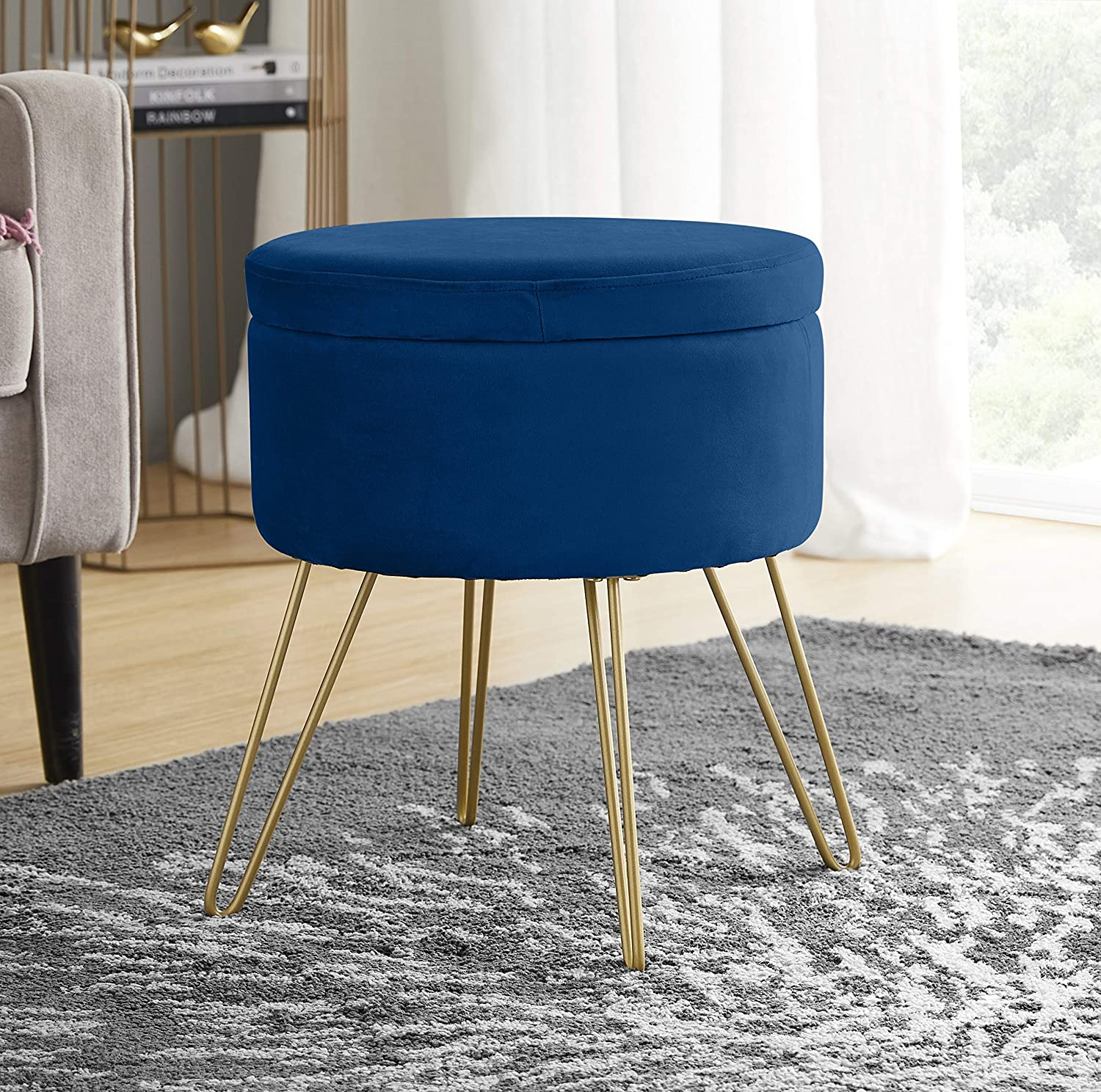 Ornavo Home Modern Round Velvet Storage Ottoman Foot Rest Vanity Stool/Seat with Gold Metal Legs & Tray Top Coffee Table - Navy
