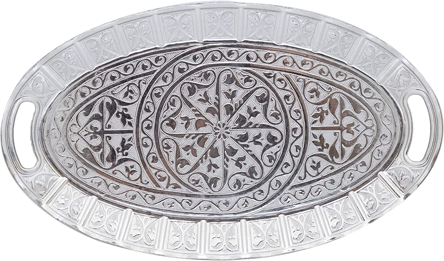 Turkish Ottoman Coffee Tea Beverage Serving Ellipse Tray (Silver) (SMALL TRAY)