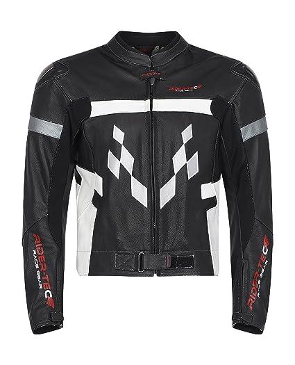 RIDER-TEC - Chaqueta de traje piel Road, color negro/blanco/rojo ...