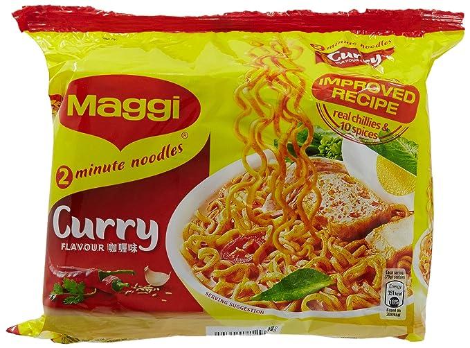 Maggi instantánea de fideos sopa de curry sabor x 5 paquetes