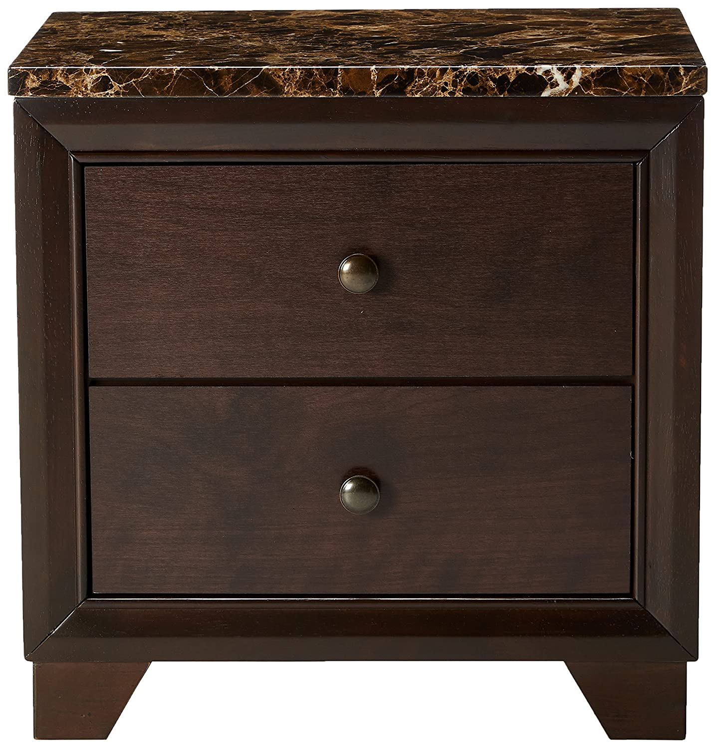 Conner 2-drawer Nightstand with Faux Marble Top Cappuccino