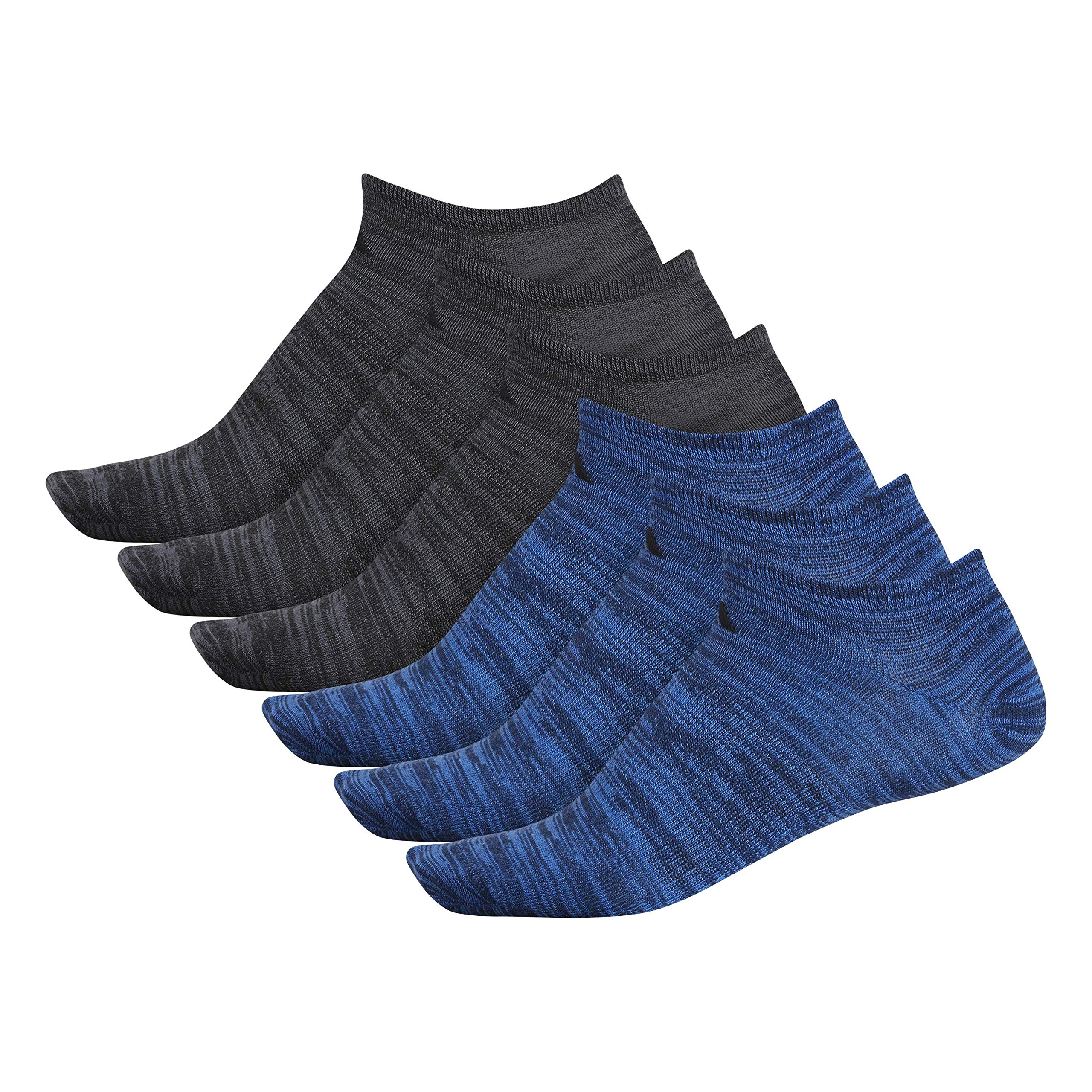 adidas Men's Superlite Low Cut Socks with arch compression (6-Pair),Collegiate Navy - True Blue Space Dye/ Black Black - On,Large, (Shoe Size 6-12) by adidas