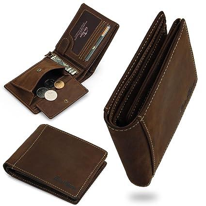 Echtleder Herren Portemonnaie handgefertigte Geldbörse aus weichem sehr hochwertigem Leder Dunkelbraun Vintage in Geschenkbox - CoinKeeper