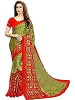 Nirjas Designer Women's Chiffon Saree With Blouse Piece (Fba Prachi-3008 A1-Saree_Green)