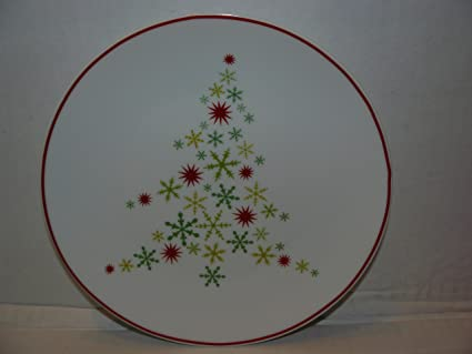 Set Of 4 Crate Barrel Snowflake Christmas Tree 8quot Dessert Plates