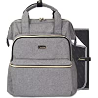 Premium Changing Bag Backpack by Liname - Extra-Wide Zip Opening, Large Capacity & Stylish Design - Includes Bonus Buggy Straps & Waterproof Changing Pad - Easy to Clean and Looks Great