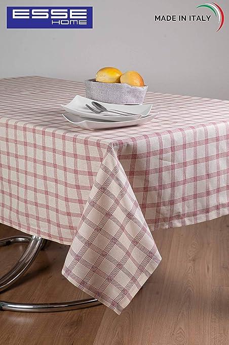 ESSE HOME - Línea Confestyl - Mantel - Rectangular para 12 personas - Teñido con hilo, 100% algodón - Hecho en Italia - Producto rtesanal - Azzurra (140x240, Mantel Burdeos): Amazon.es: Hogar