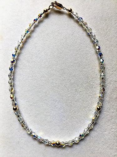 Amazon Com Gold Swarovski Crystal Ankle Bracelet Handmade