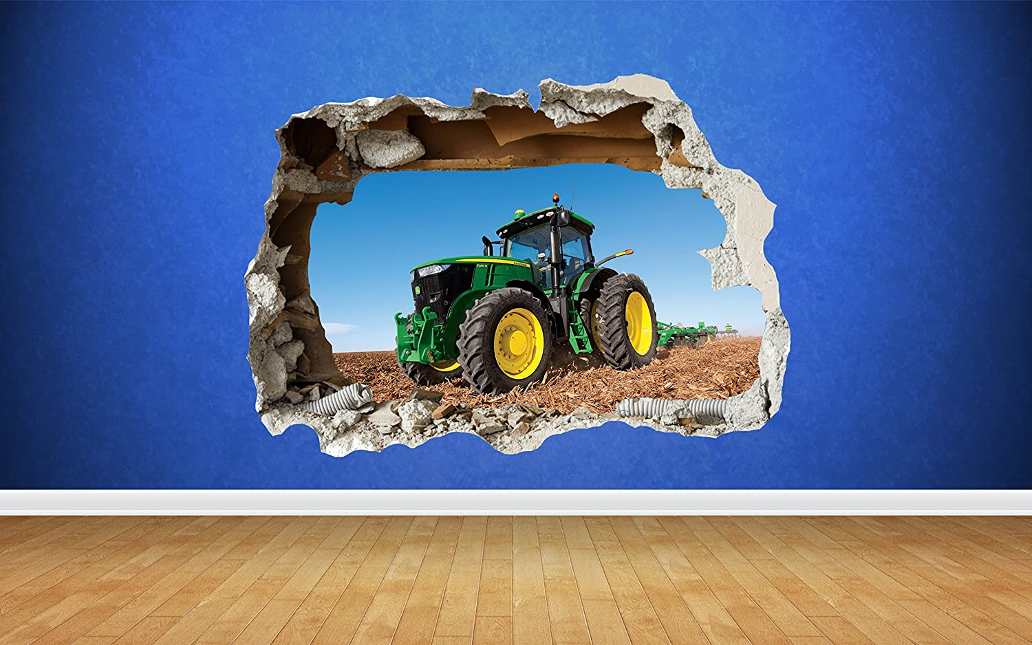 Thorpe Signs Tractor Farm Boys Bedroom Animals Country Smashed Wall Decal 3D Art Stickers (Large: 82cm x 58cm)