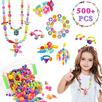 5 Arts and Crafts for Girls Age 3 7 Year Old Kids Toys 4 Hairband Necklace Bracelet and Ring Creativity DIY Set 6 Jewelry Making Kit Pop Beads 520 PCS