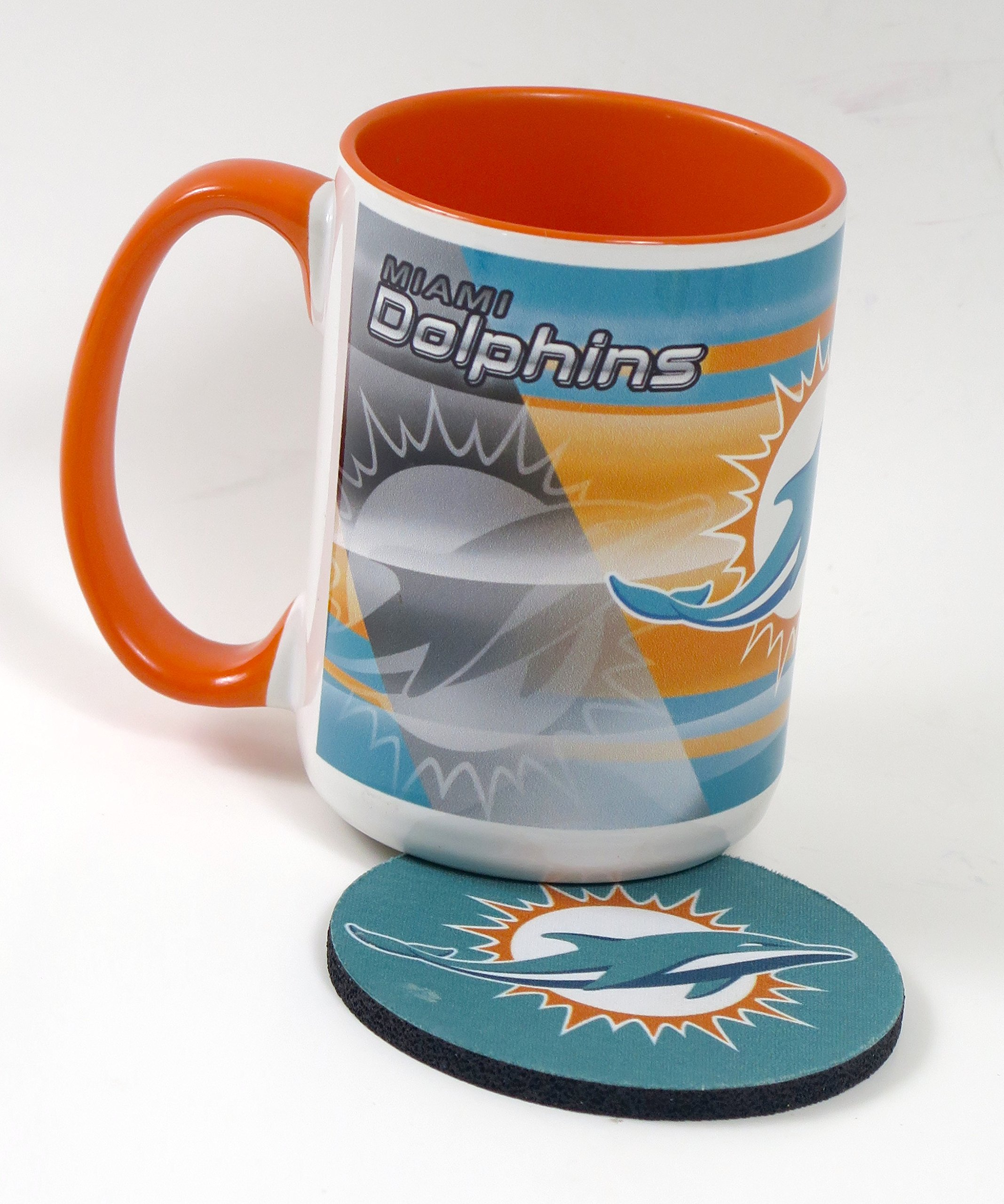 Miami Dolphins Work Station Computer Set. Includes Large Coffee Mug, Neoprene Mouse pad and Coaster, Retractable Pen and a 1000 Sheet Notepad Cube. 5 Peace Set by T (Image #4)