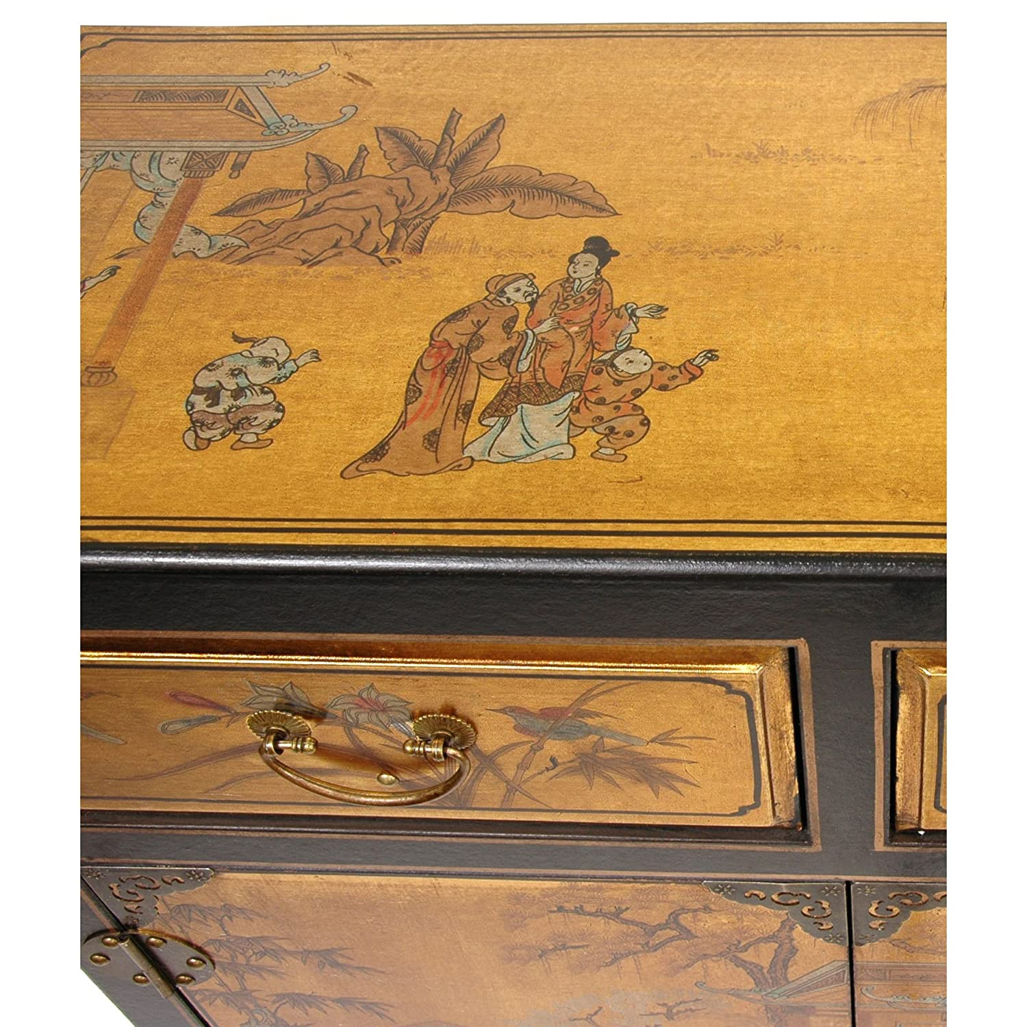 Amazon.com: Oriental Furniture Gold Lacquer Two Drawer Cabinet: Kitchen U0026  Dining