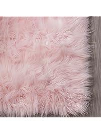 serene super soft faux sheepskin shag silky rug baby nursery childrens room rug light pink