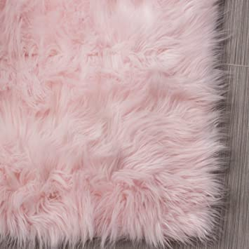 Serene Super Soft Faux Sheepskin Shag Silky Rug Baby Nursery Childrens Room Rug  Light Pink,