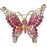 Navachi 18k Gold Plated Red Crystal Flying Butterfly Az7331b Brooch Pin