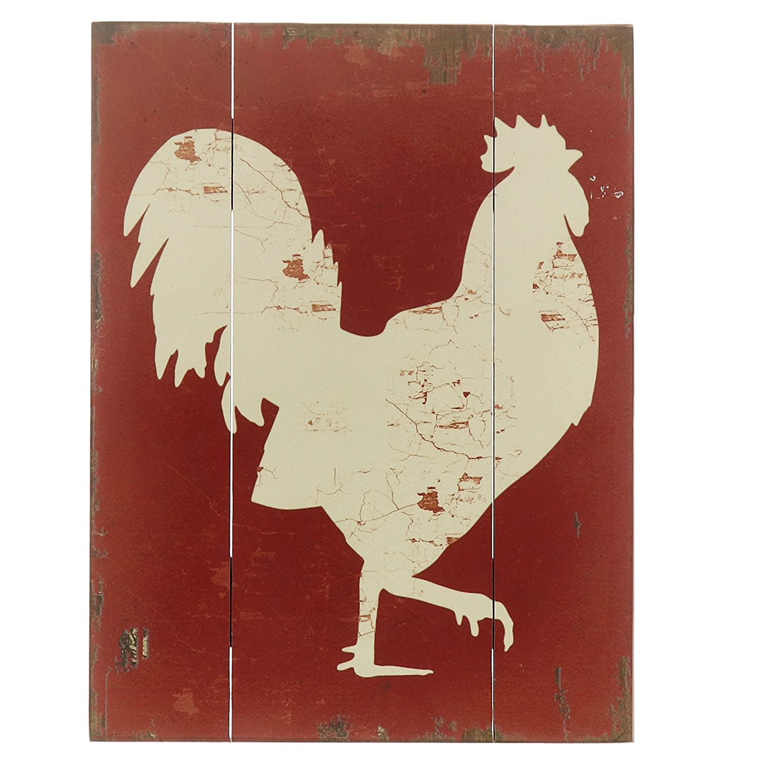 "Barnyard Designs White Rooster Cockerel Retro Vintage Wood Plaque Bar Sign Country Home Decor 15.75"" x 11.75"""