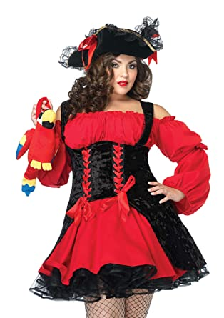 Leg Avenue Womenu0027s Plus Size Vixen Pirate Wench Costume Black/Red X-  sc 1 st  Amazon.com & Amazon.com: Leg Avenue Womenu0027s Vixen Pirate Wench With Double Lace ...