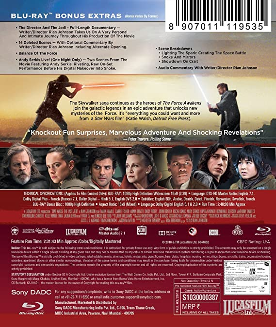 Amazon.in: Buy Star Wars: The Last Jedi DVD, Blu-ray Online at Best Prices  in India | Movies & TV Shows