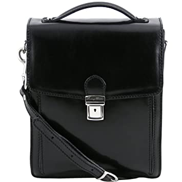 8c2bea7cc6fc Tuscany Leather David - Leather Crossbody Bag - large size Black   Amazon.co.uk  Luggage