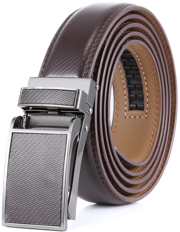 Marino Avenue メンズ 本革ラチェットドレスベルト Linxxバックル付 エレガントなギフトボックス入り B01M8O7IK8 L|Brown Design Leather Buckle With Brown Leather Brown Design Leather Buckle With Brown Leather L