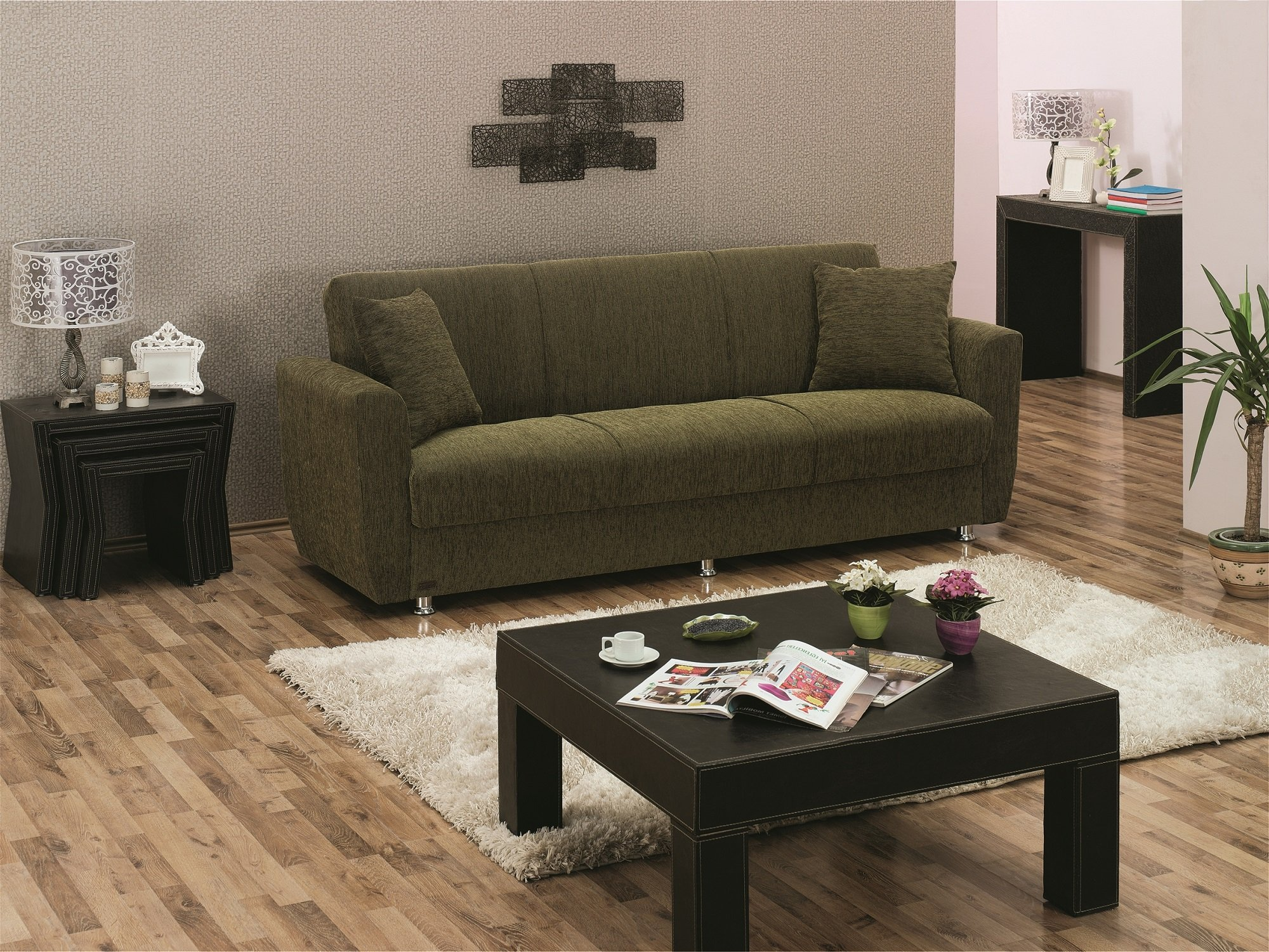 BEYAN Edison Collection Modern Fold Out Convertible Sofa Bed with Storage Space, Includes 2 Pillows, Green