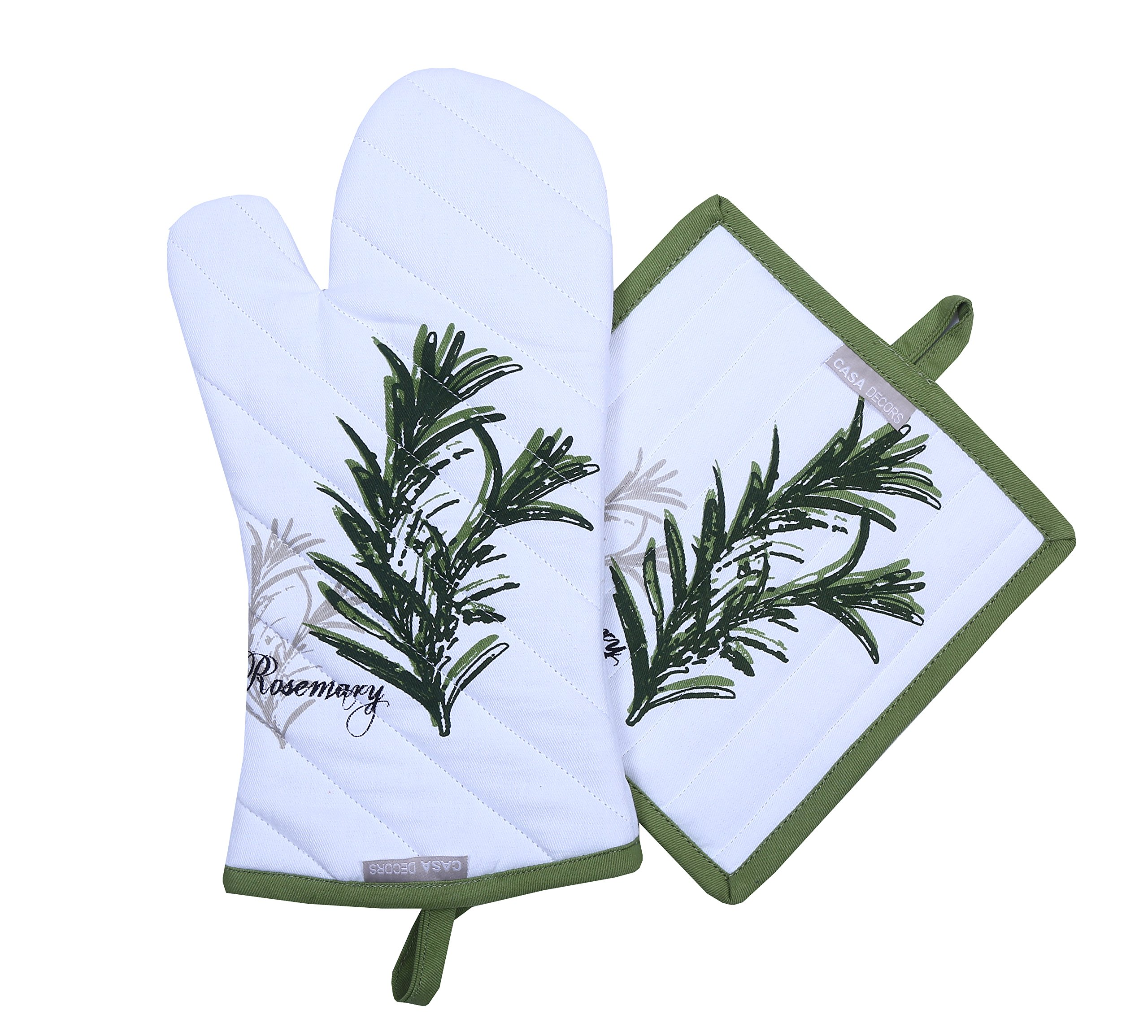 Pot Holders and Oven Mitts, Unique Herb Garden Design, Heat Resistant, Made of 100% Cotton, Eco-Friendly & Safe, Set of 1 Oven Mitt and 1 Pot Holder, Pot Holders and Oven Mitts Sets By CASA DECORS