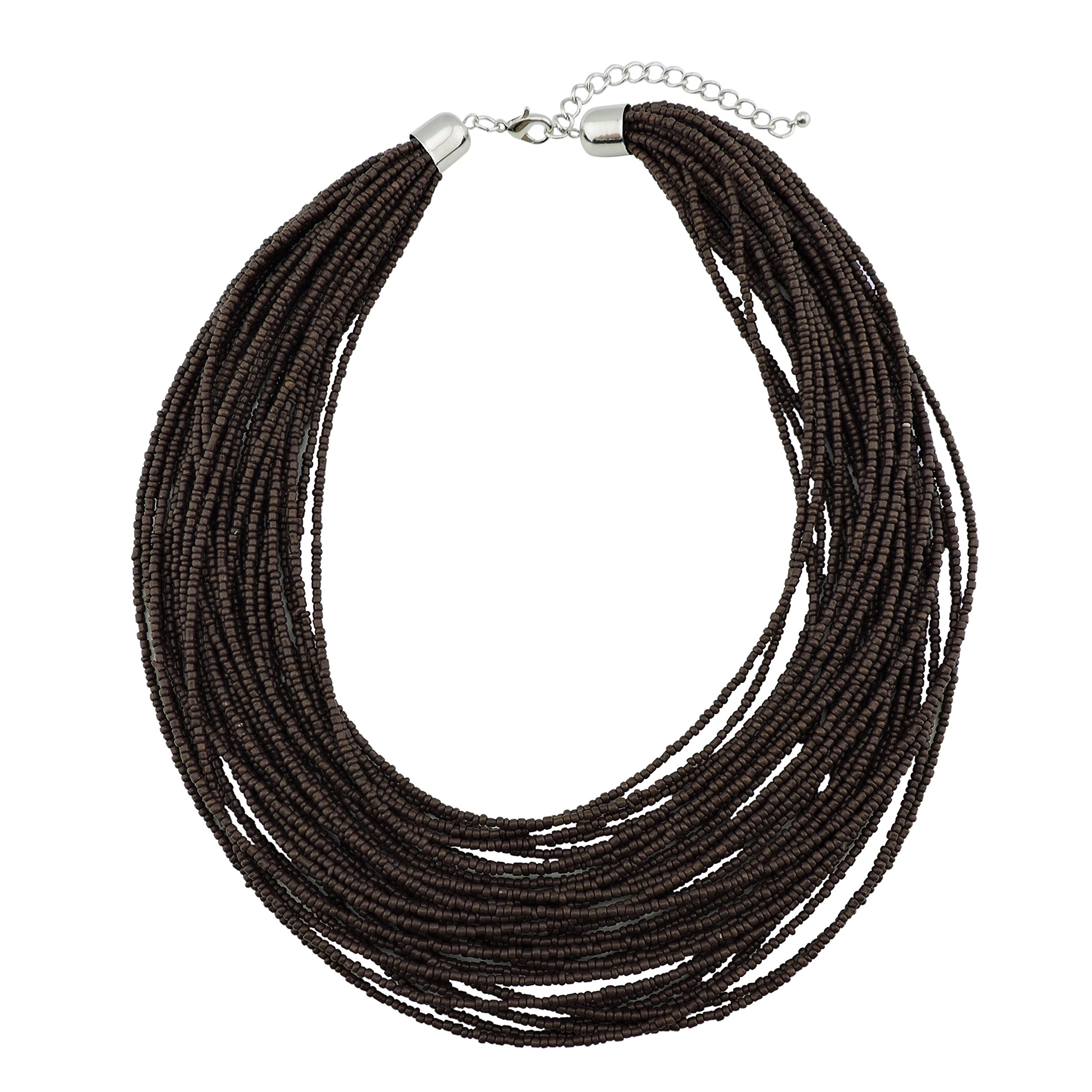 Bocar Multi Layer Chunky Bib Statement Seed Beads Cluster Collar Necklace Women Gift (NK-10351-deep Brown)