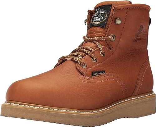 """Georgia GB00133 6/"""" Waterproof Barnyard Acid Resistant Wedge Sole Work Boots"""