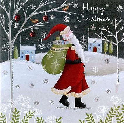 Sólido en caja tarjetas de Navidad a mano bsb275 a Santa tarjeta de Navidad (Pack de 5): Amazon.es: Oficina y papelería