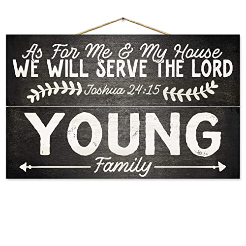 Religious Personalized Family Name Wood Sign | As For Me & My House We Will  Serve The Lord | Bible Verse on 7-inch by 12-inch Wooden Plaque